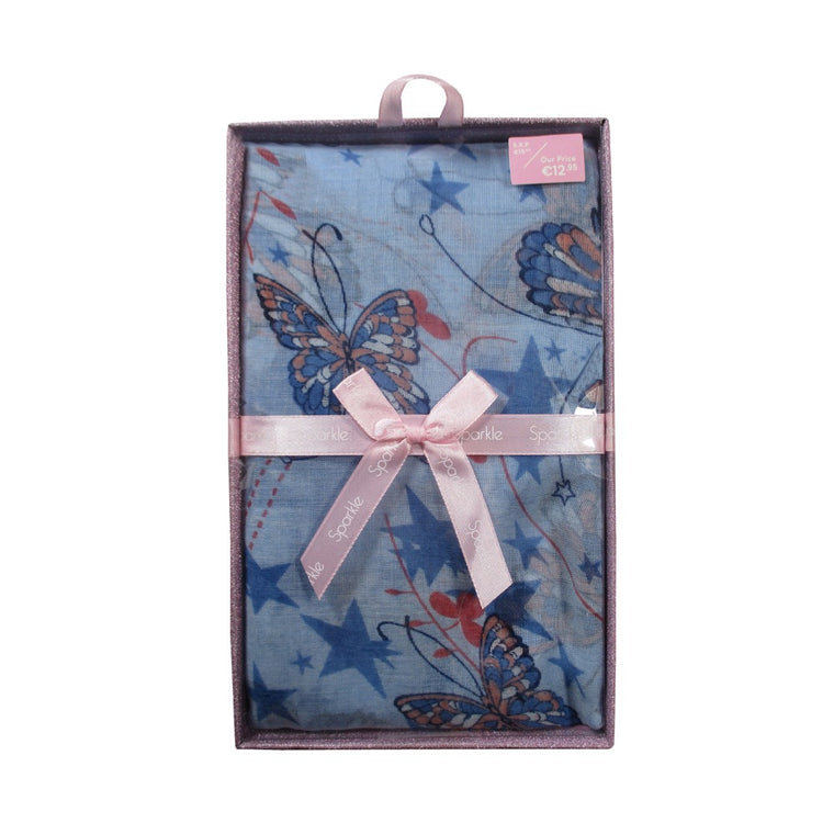 Sparkle Butterfly Print Scarf Gift Box-Blue