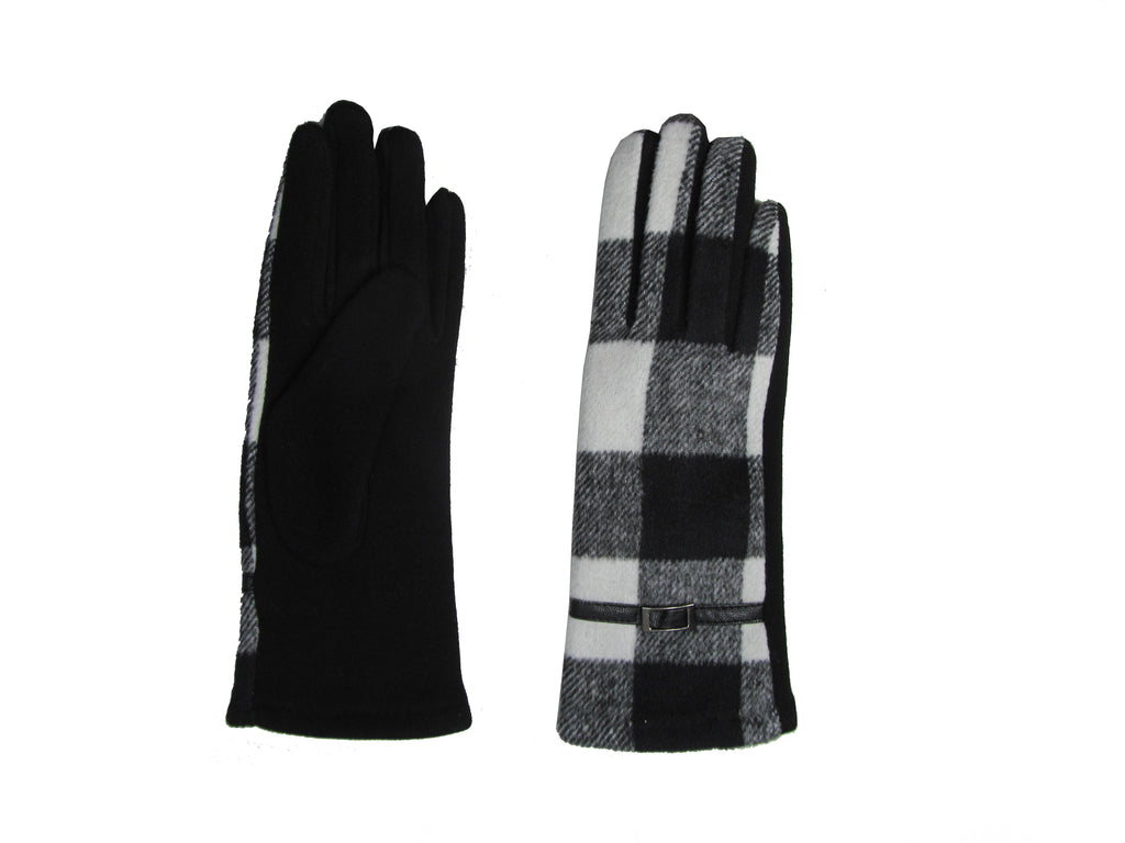 Check Glove White & Black
