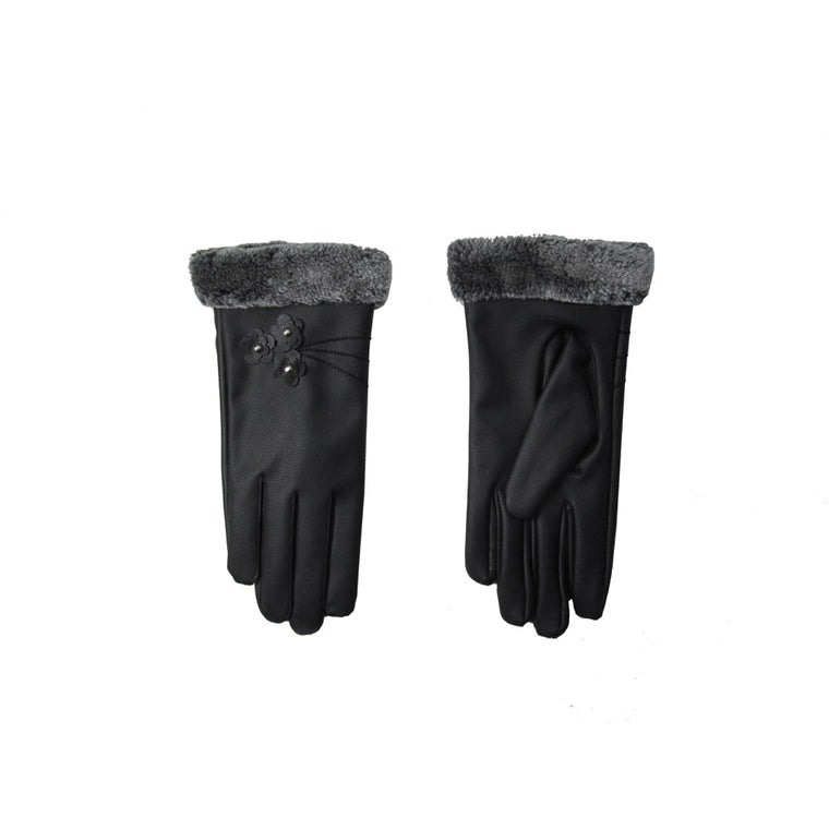 Pusle Faux Fur Gloves Gift Box-Black