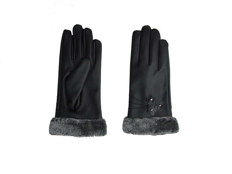 Glove With Faux Fur Trim