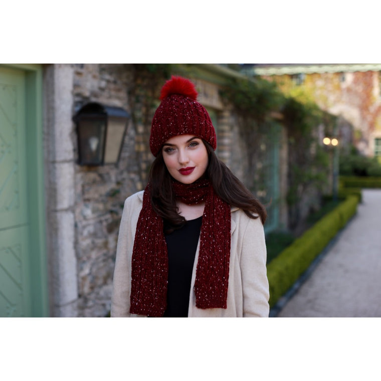 Pulse Gift Box Pom Pom Hat & Scarf Set- Burgandy