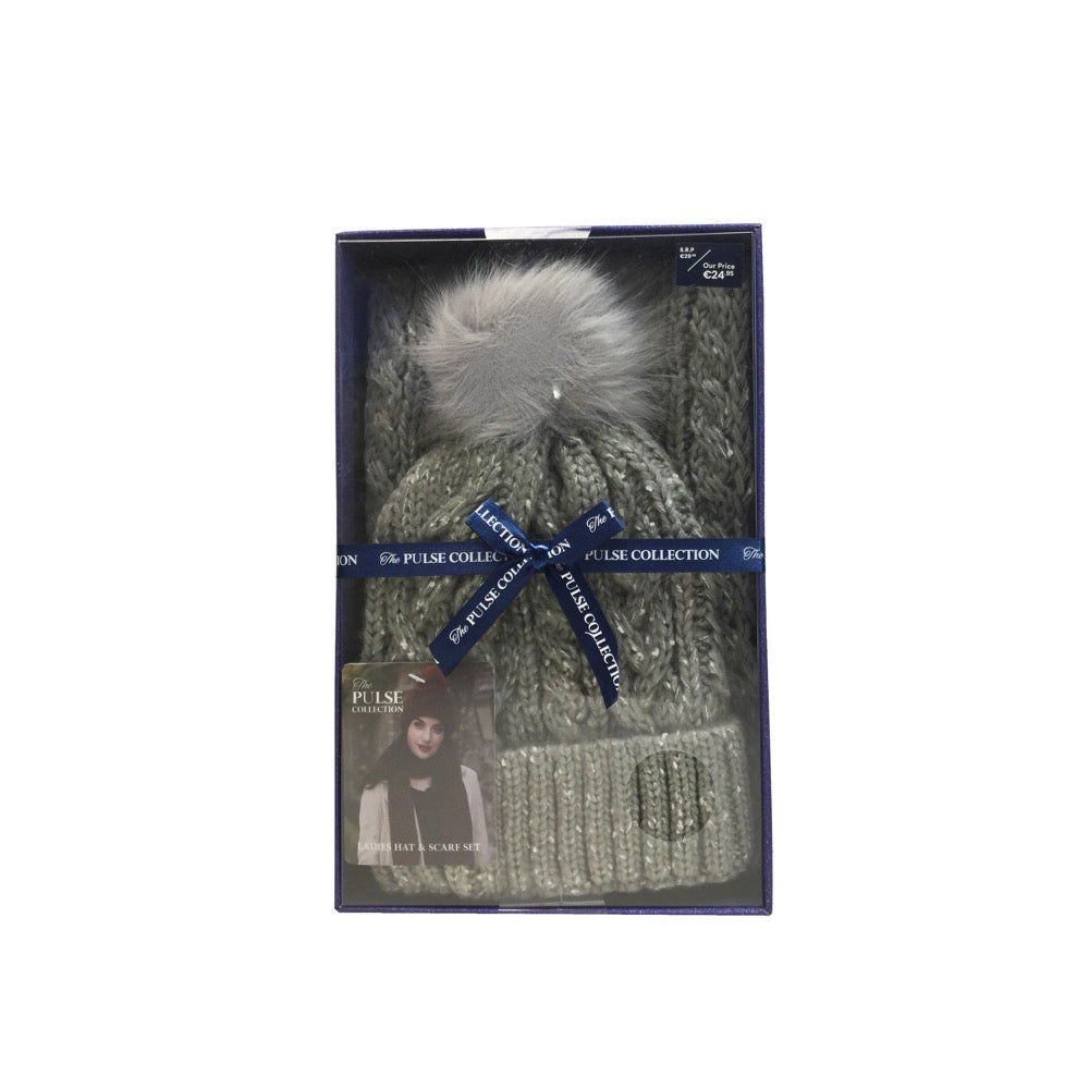 Pulse Gift Box Pom Pom Hat & Scarf Set- Grey
