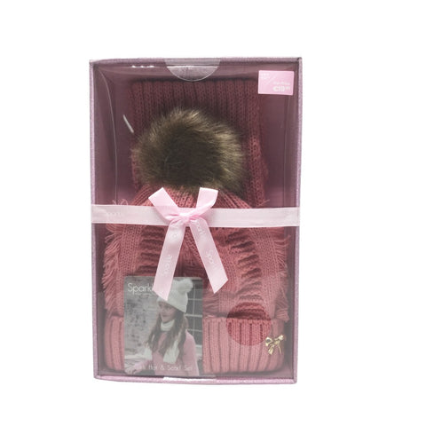 Sparkle Gift Box Pom Pom Hat & Scarf Set