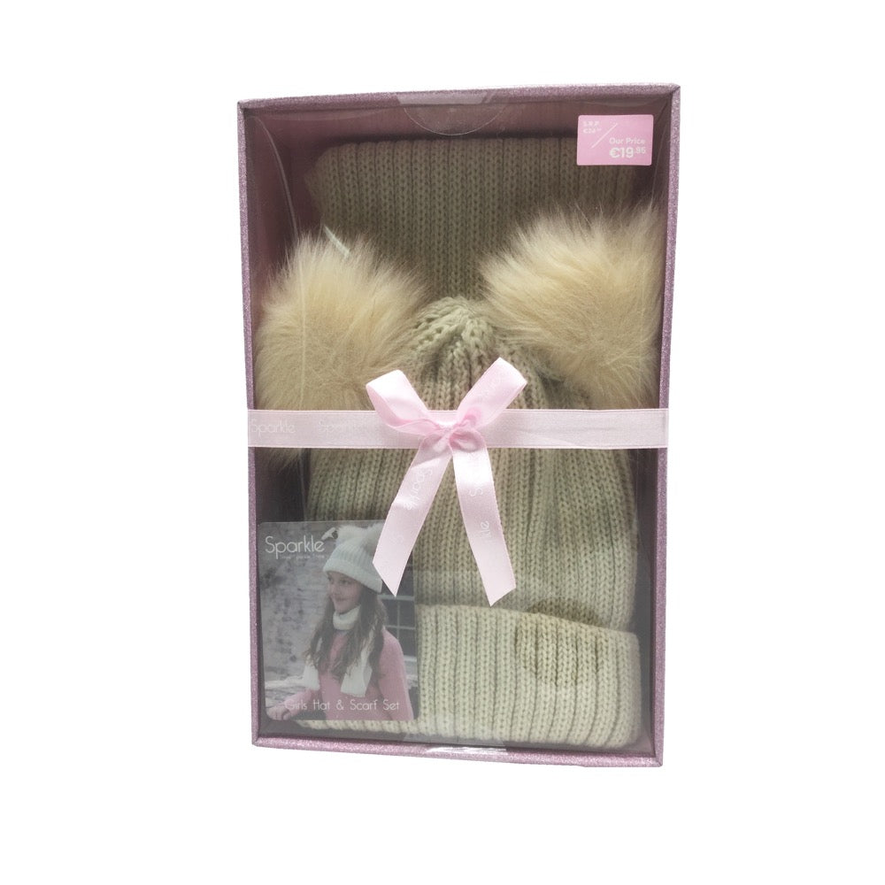 Sparkle Gift Box Double Pom Pom Hat & Scarf Set