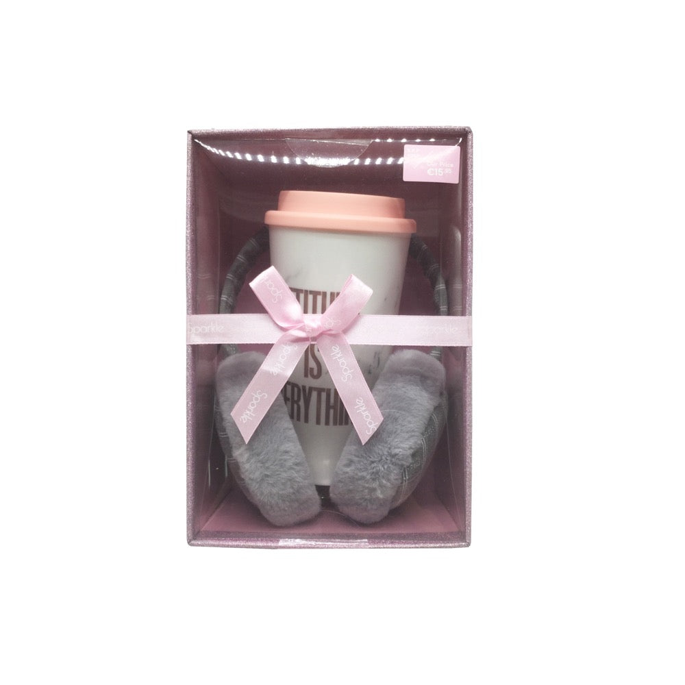 Sparkle Gift Box Travel Cup & Earmuff Set