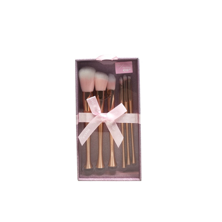 Sparkle Gift Box 6pc Rose Gold Makeup Brushes