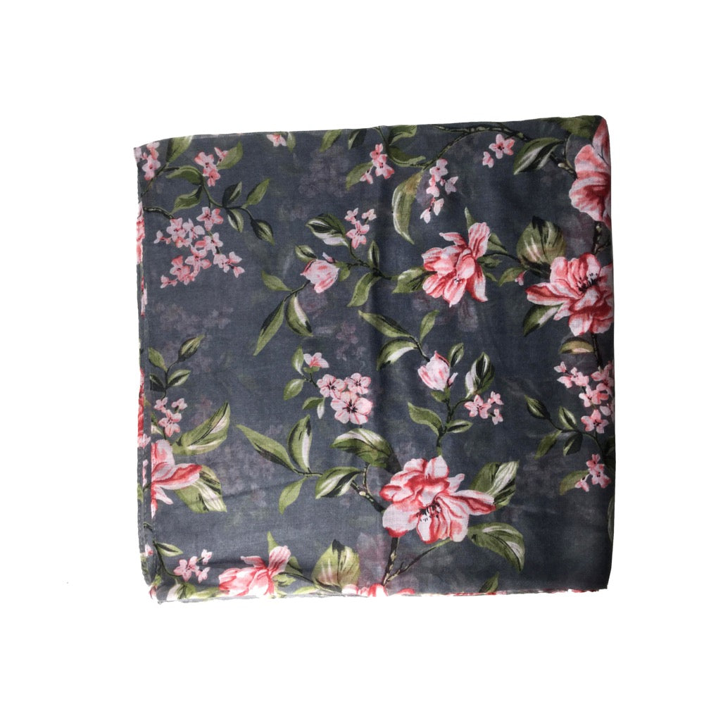 Flower Print Scarf-Grey