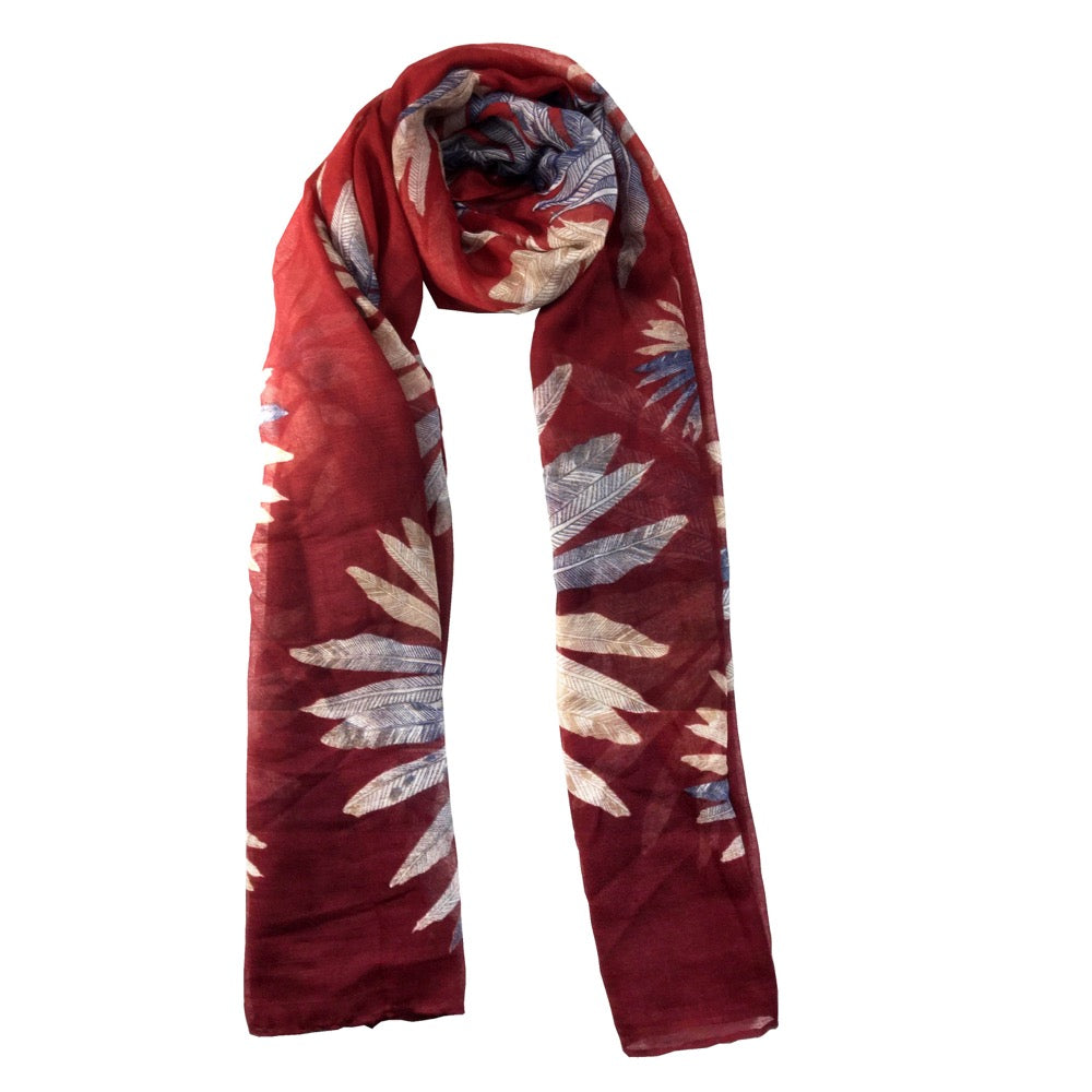Feather Print Scarf-Pink