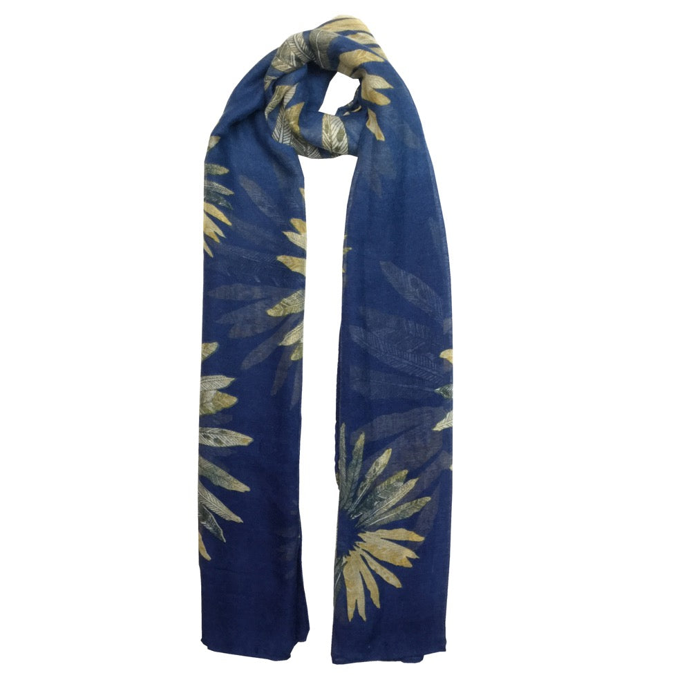 Feather Print Scarf-Navy