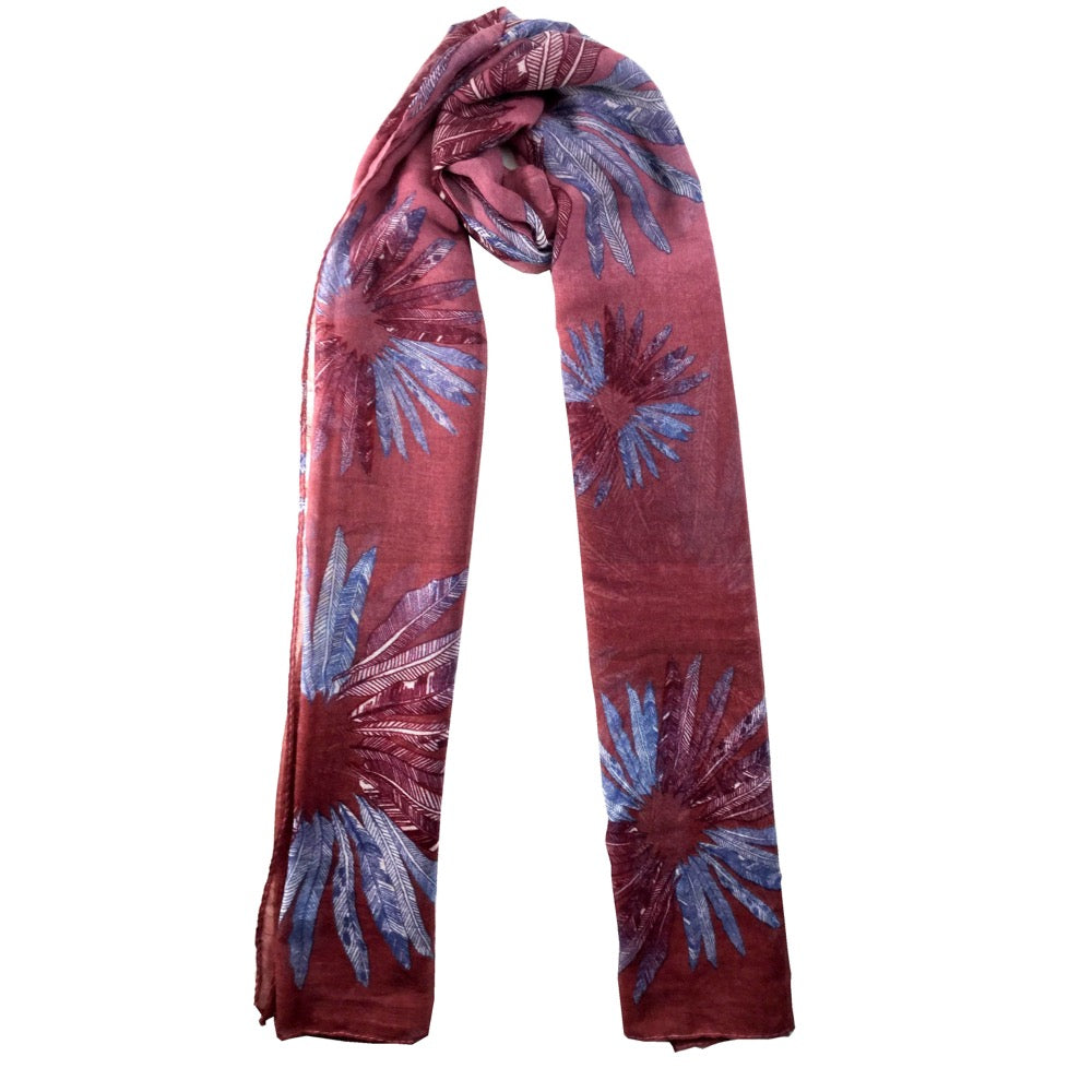 Feather Print Scarf-Red