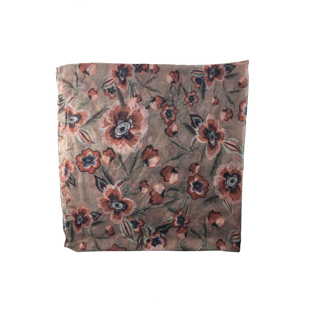 Outlined Flower Print Scarf-Beige