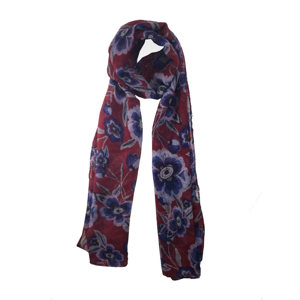 Outlined Flower Print Scarf-Red