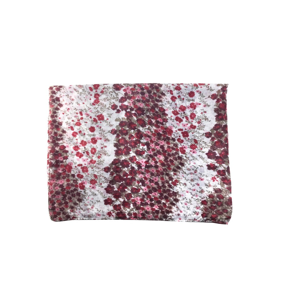 Ditsy Floral Print Scarf-Red