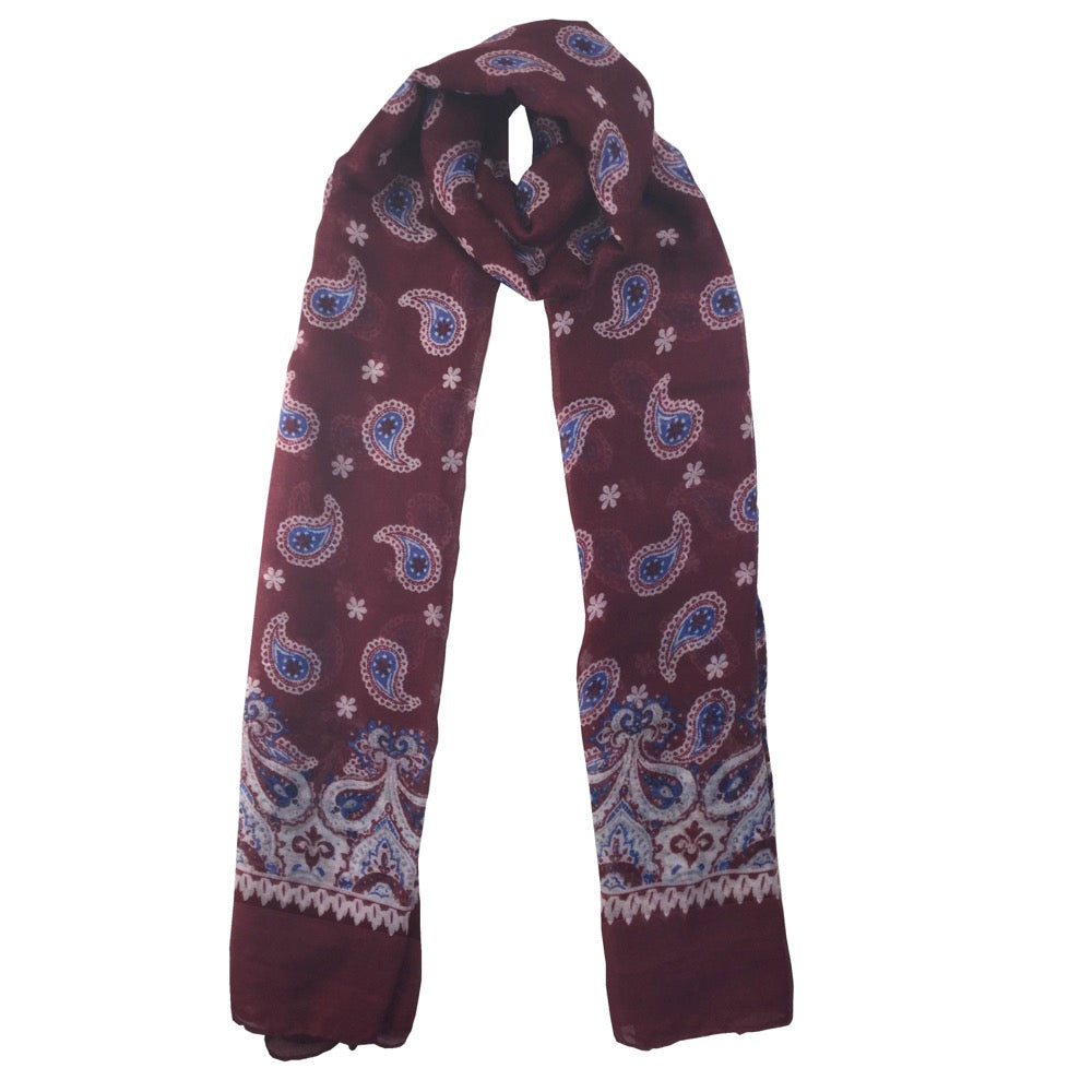 Paisley Pattern Print Scarf-Red