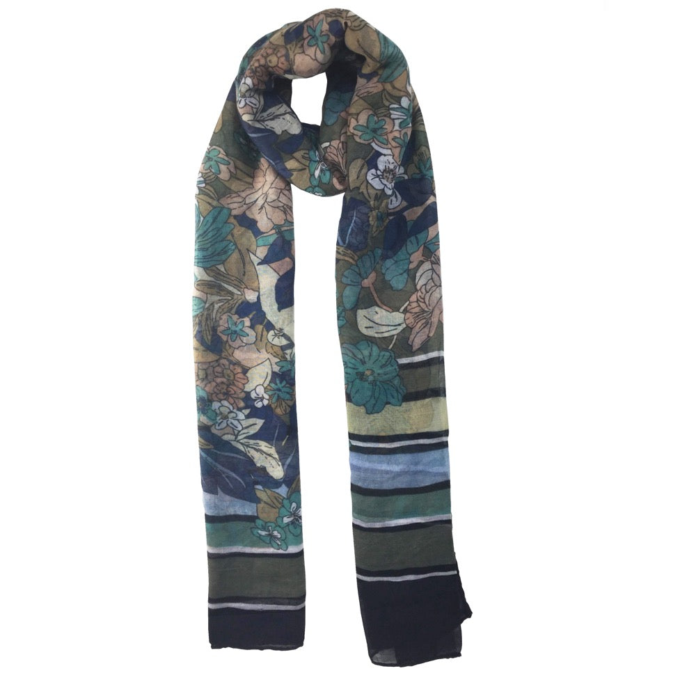 Flower Stripe Border Print Scarf-Green