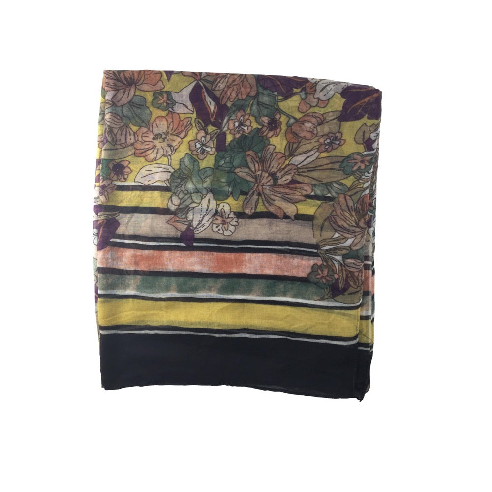 Flower Stripe Border Print Scarf-Yellow