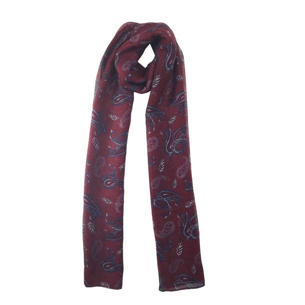 Ditsy Paisley Print Scarf-Red