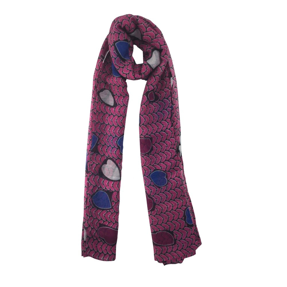 Heart Print Scarf-Pink