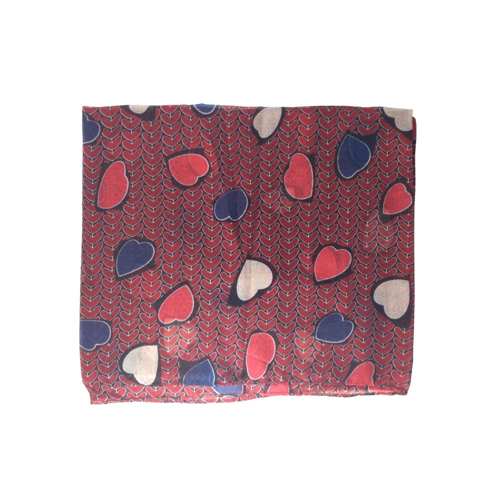 Heart Print Scarf-Red