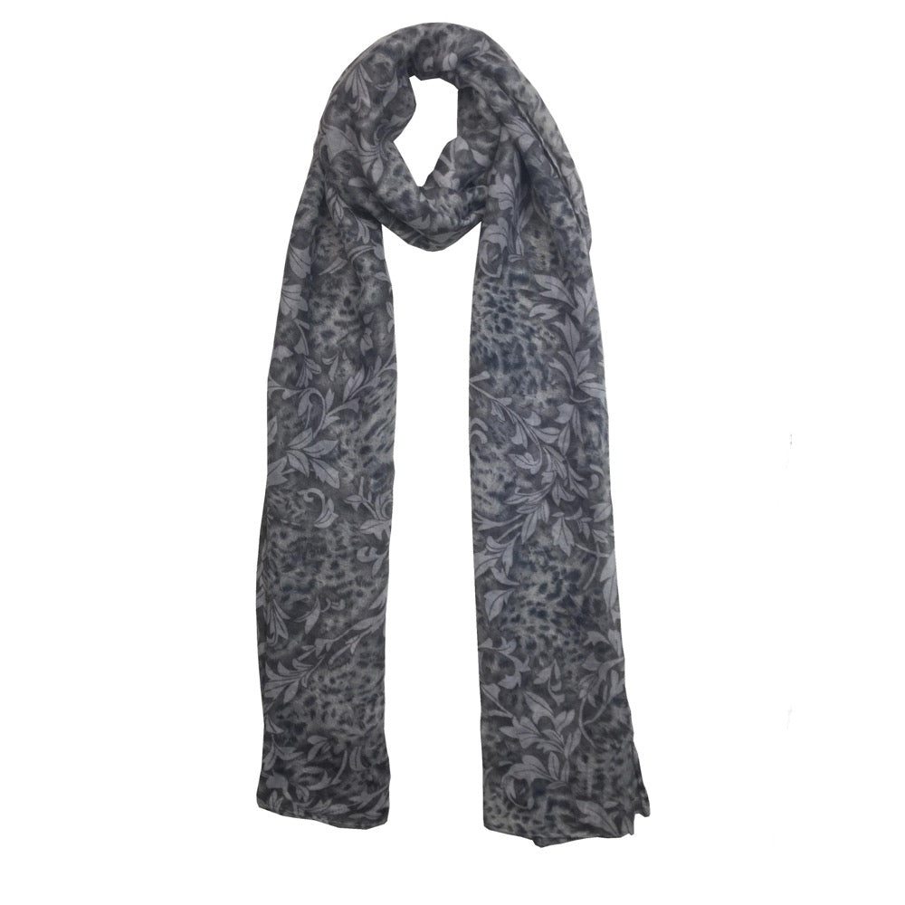Leopard Leaf Mix Print Scarf-Blue
