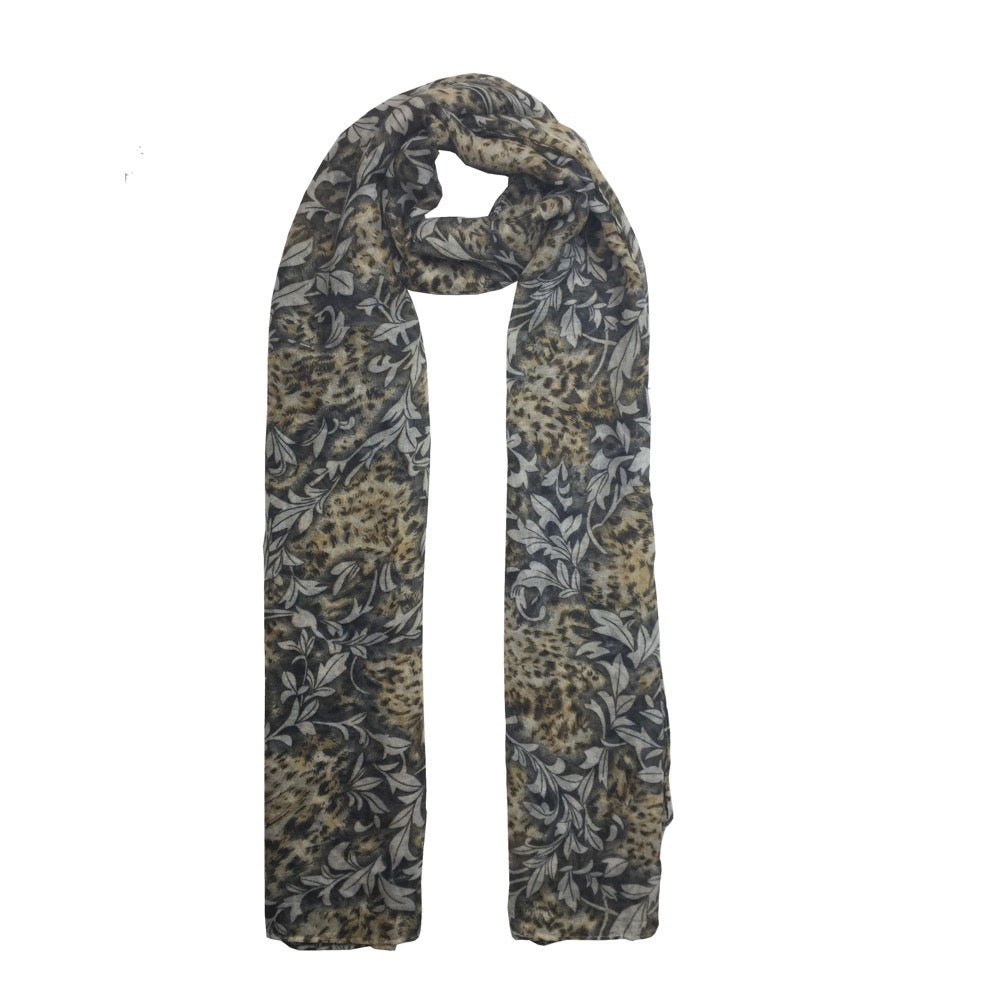 Leopard Leaf Mix Print Scarf-Yellow