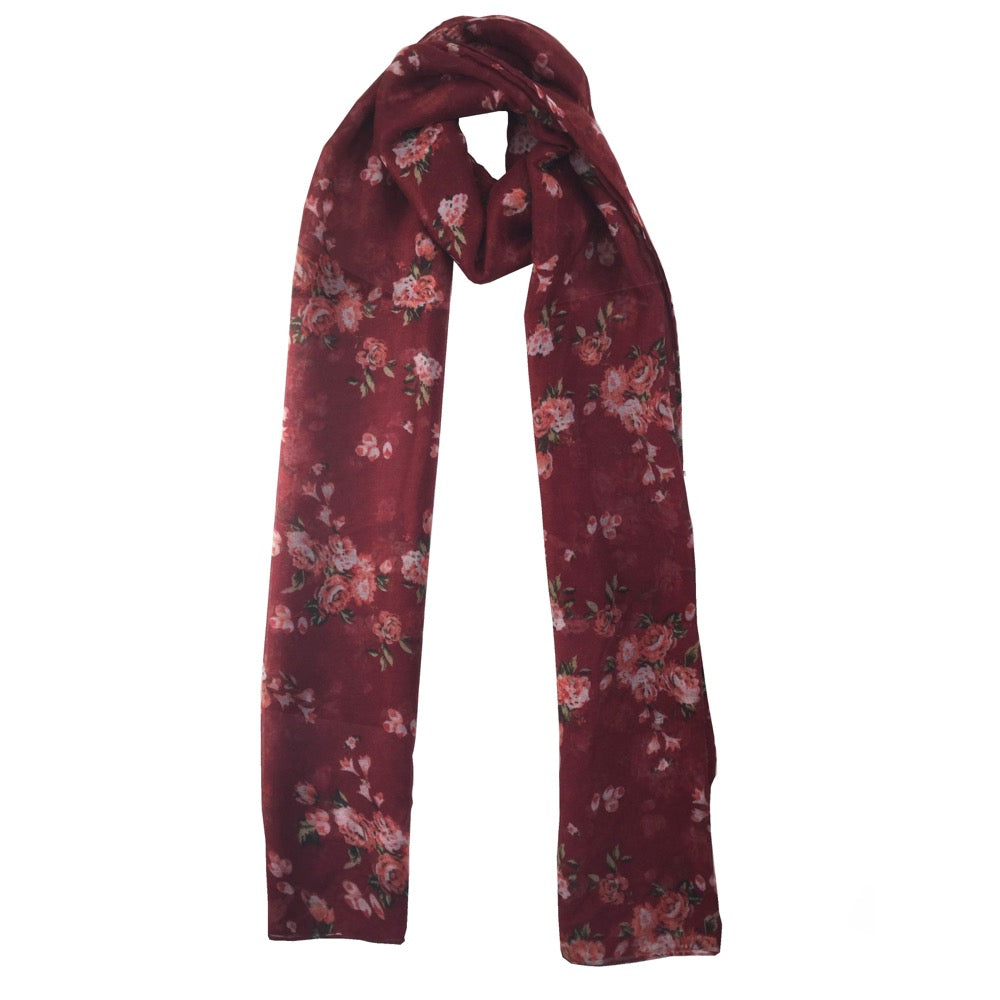 Floral Print Scarf-Red