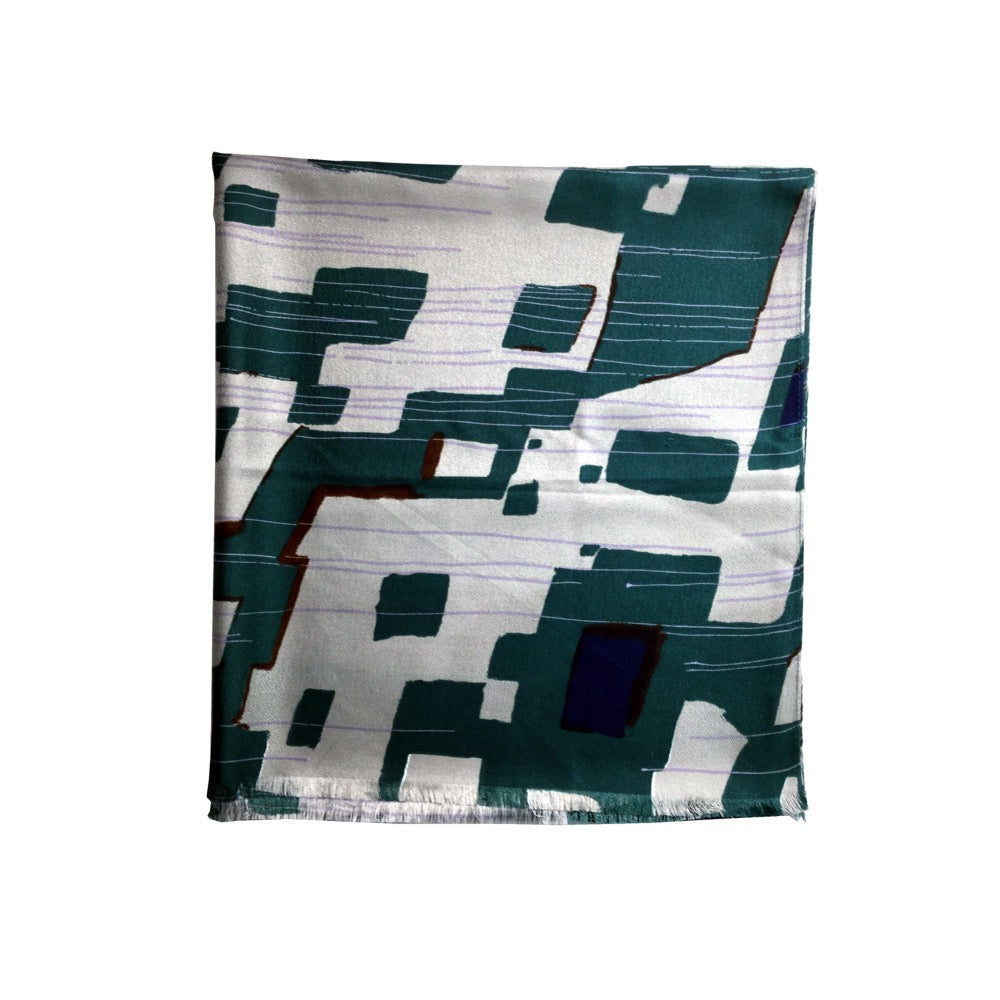 Abstract Geo Print Scarf-Green
