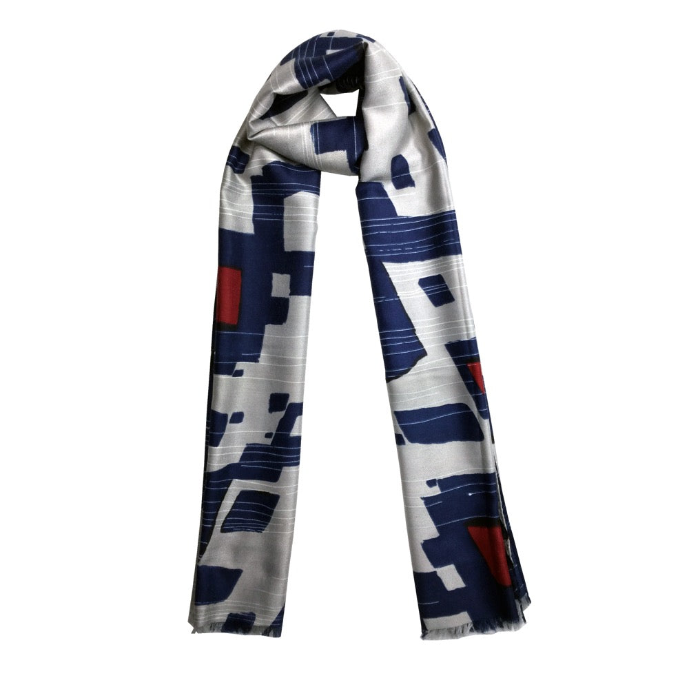 Abstract Geo Print Scarf-Navy