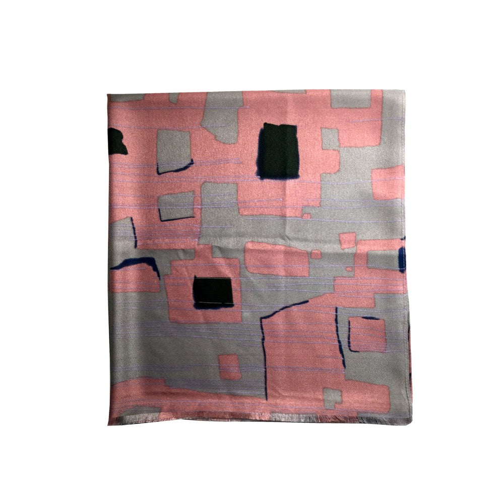 Abstract Geo Print Scarf-Pink