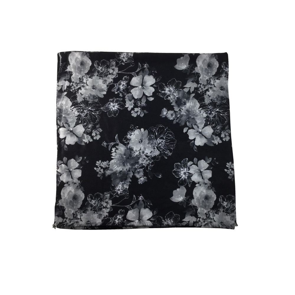 Flower Print Scarf-Black