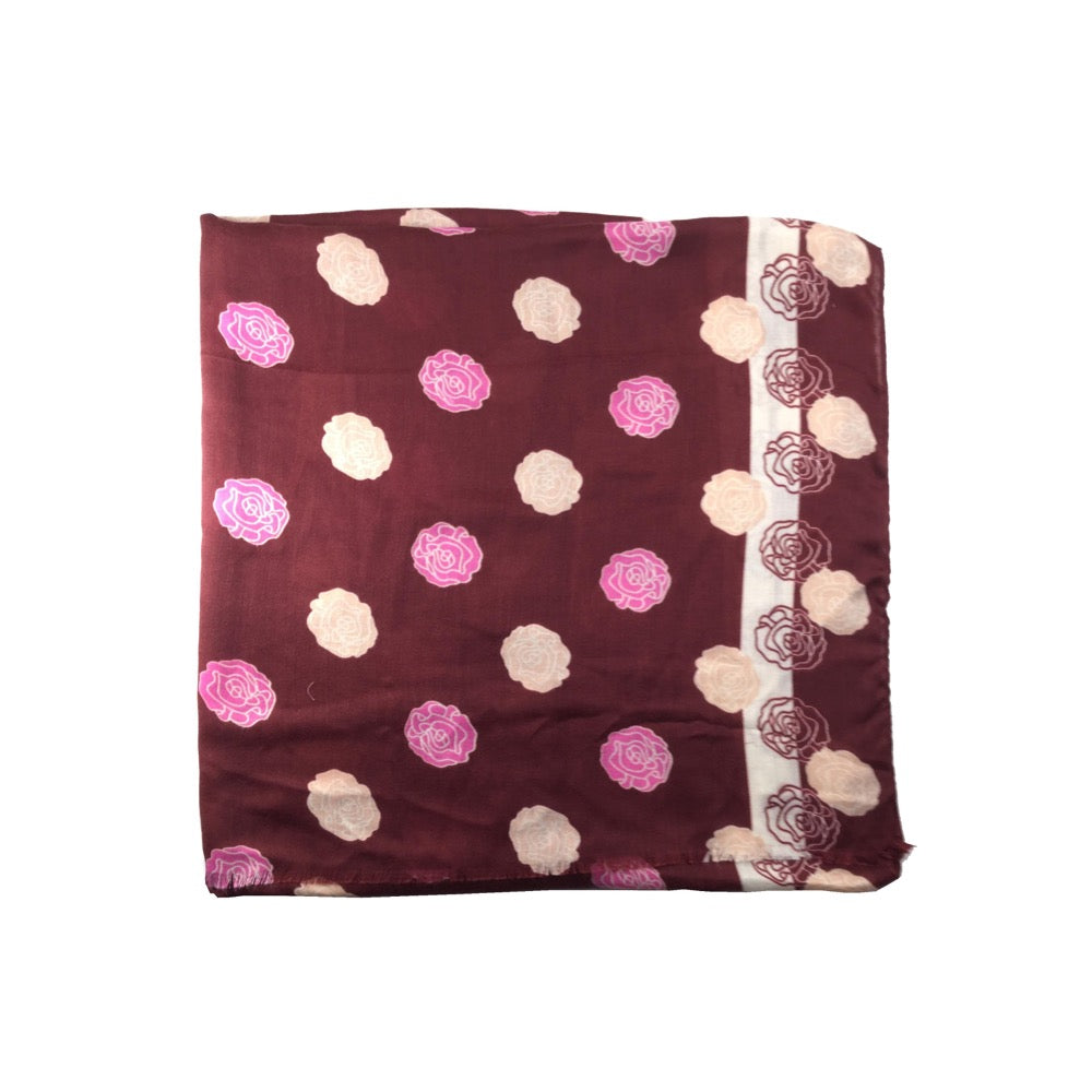 Flower Print Scarf-Wine