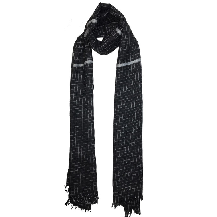 Grey Threaded Scarf-Black