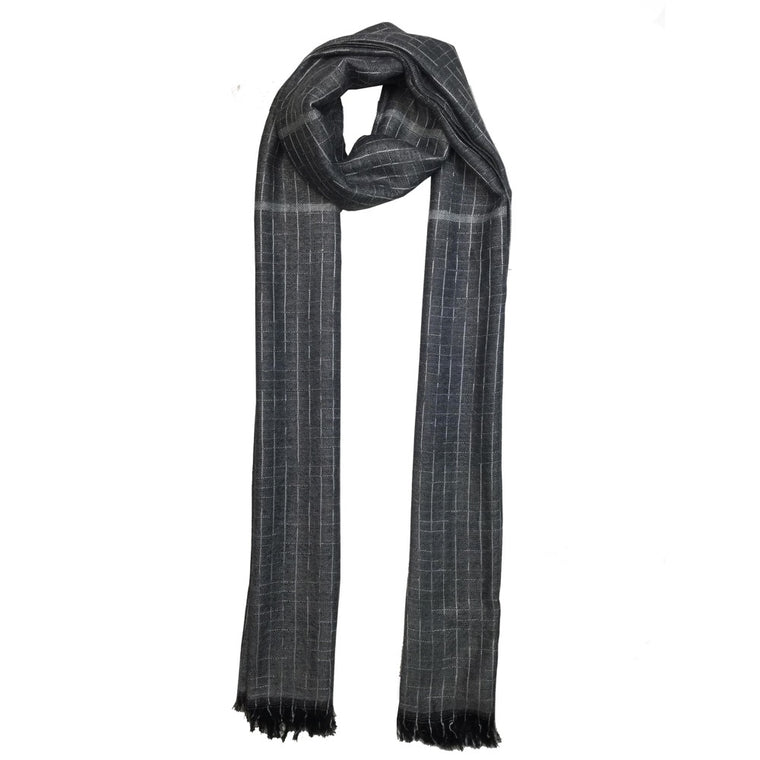 Grey Threaded Scarf-Grey