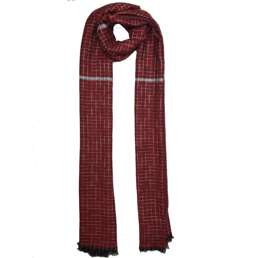 Grey Threaded Scarf-Red
