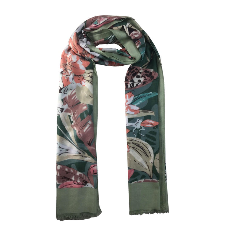 Flower Leaf Print Scarf-Green