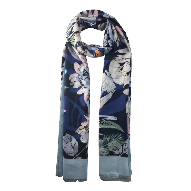Flower Leaf Print Scarf-Navy