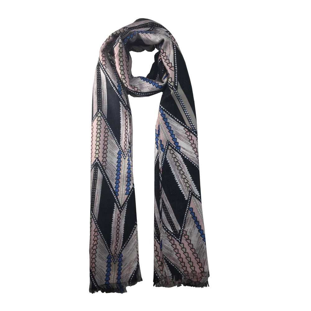 Triangular Printed Scarf-Black