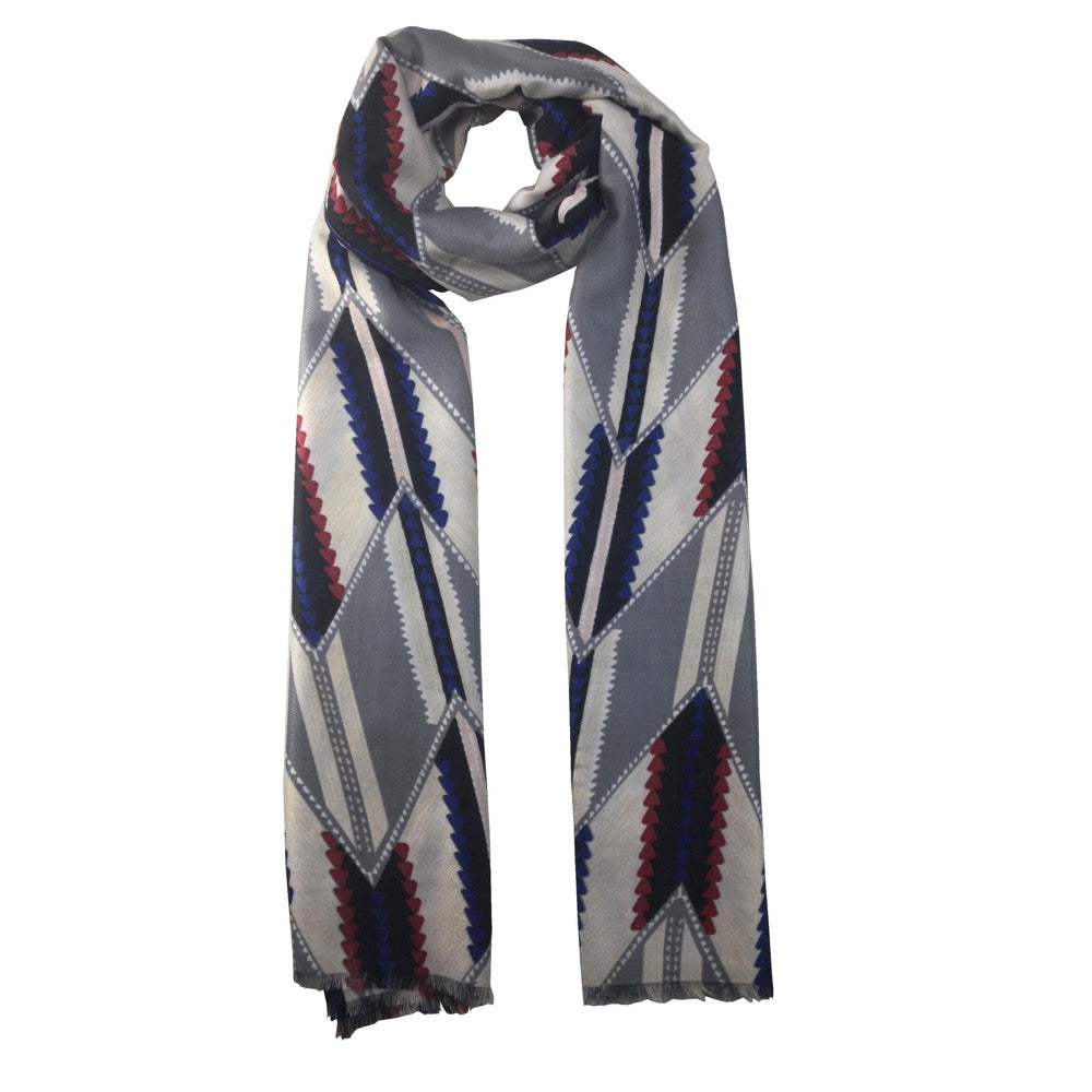 Triangular Printed Scarf-Grey