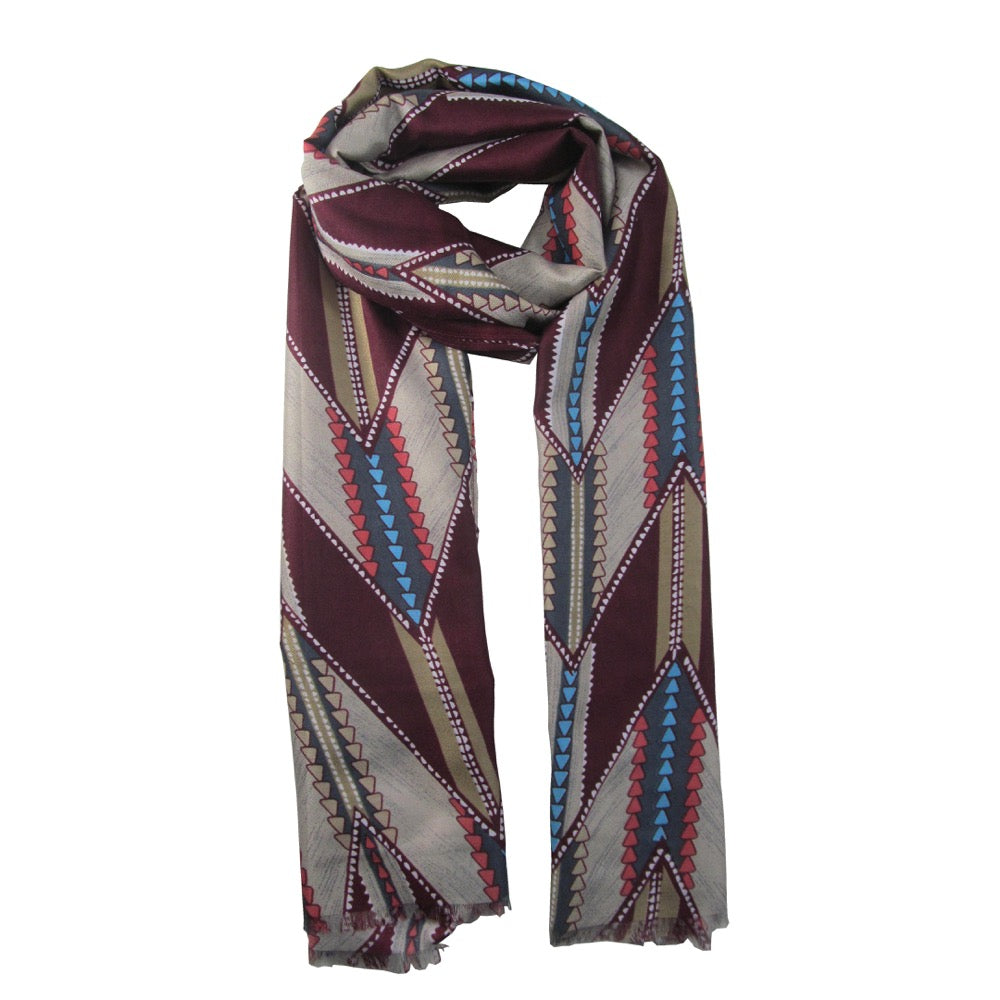 Triangular Printed Scarf-Wine