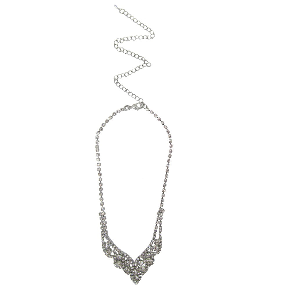 Diamante Necklace Set Silver