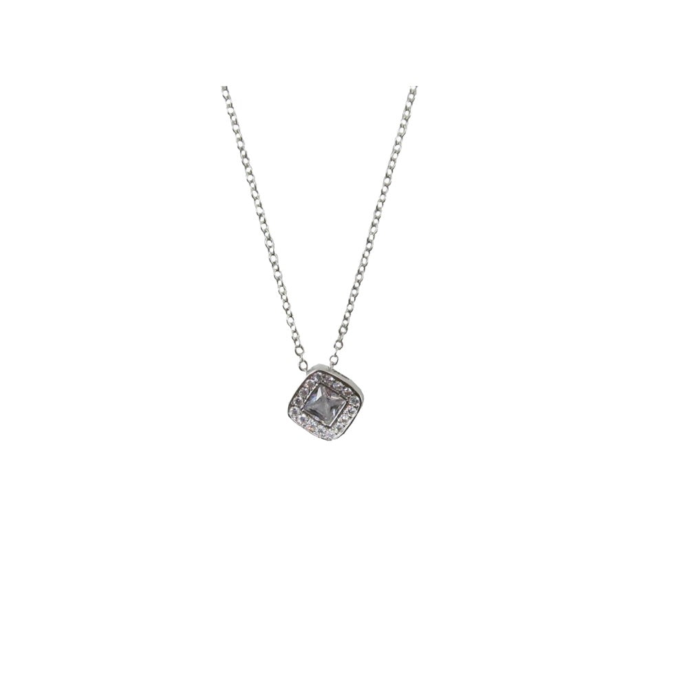 Diamond Pendant Necklace Silver
