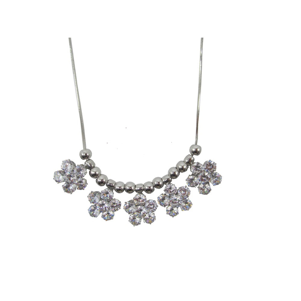 Diamante Flower Statement Necklace Silver