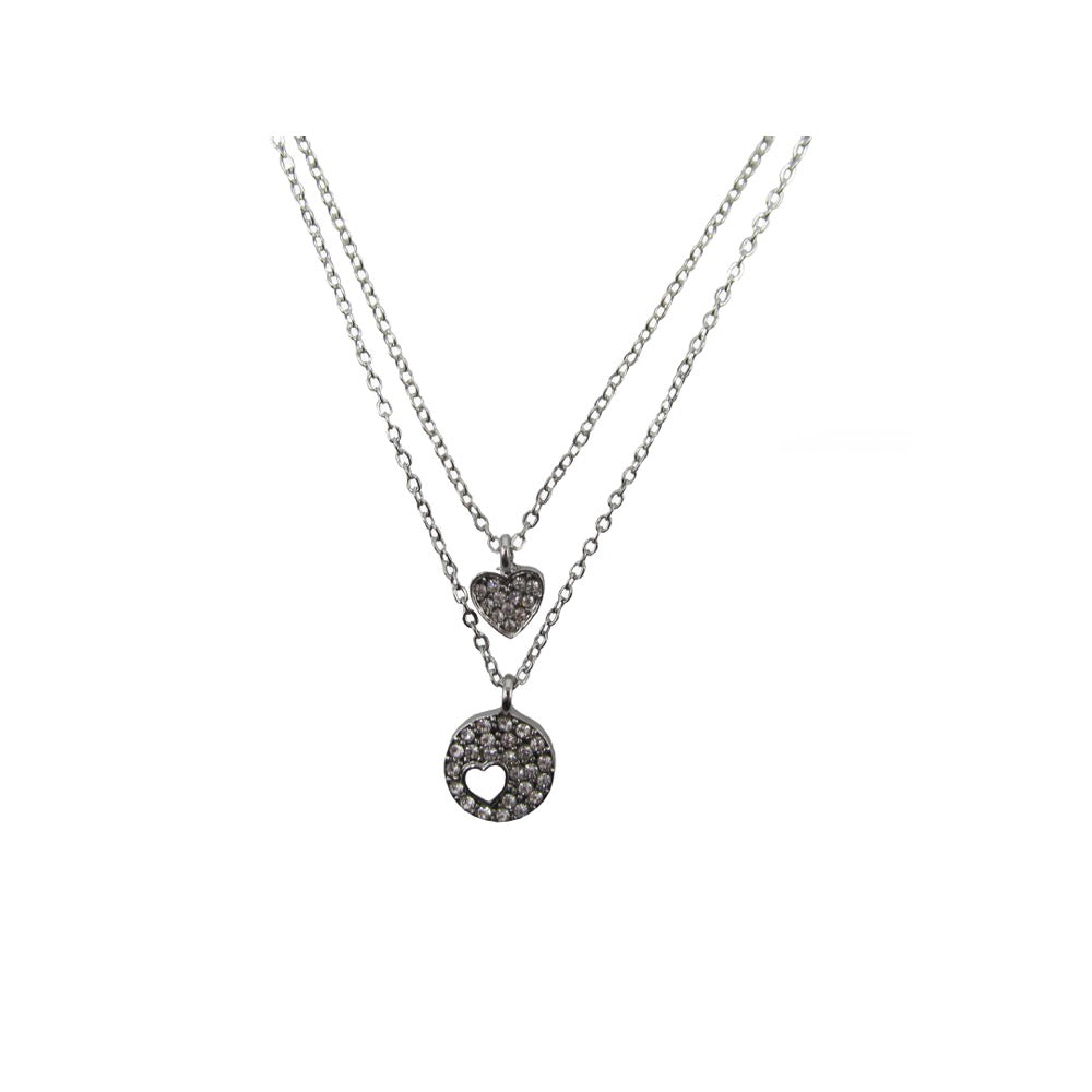 2Row Heart Necklace Silver