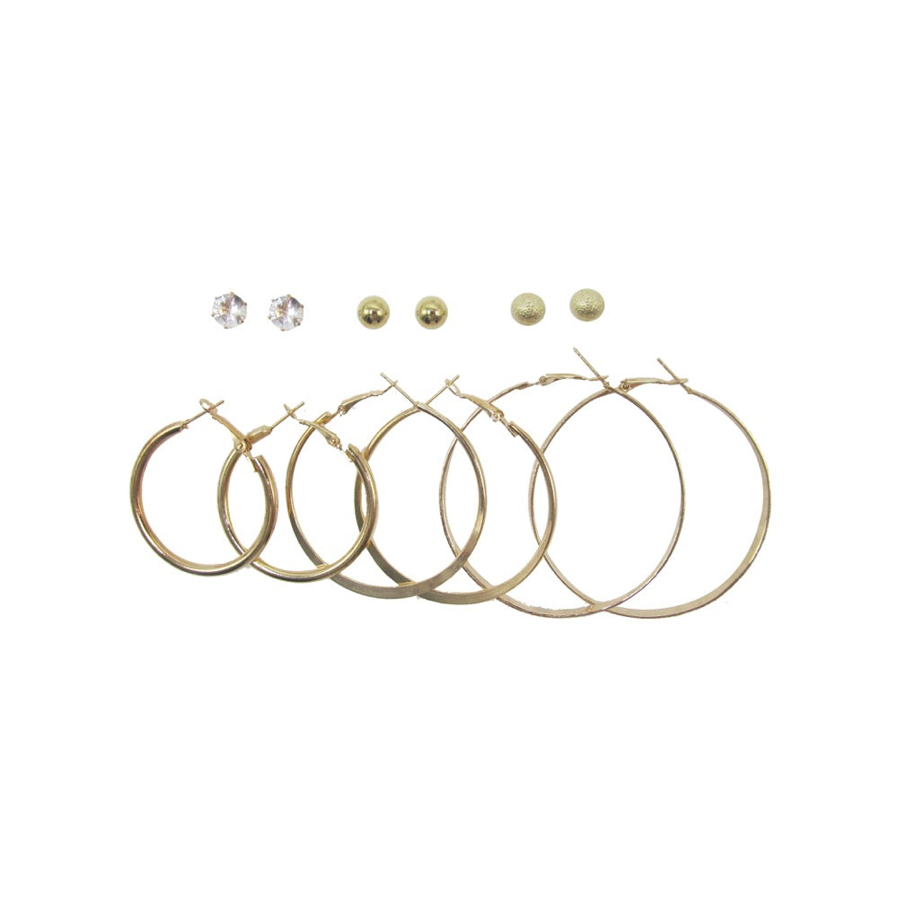 6Pk Hoop Stud Mix Gold