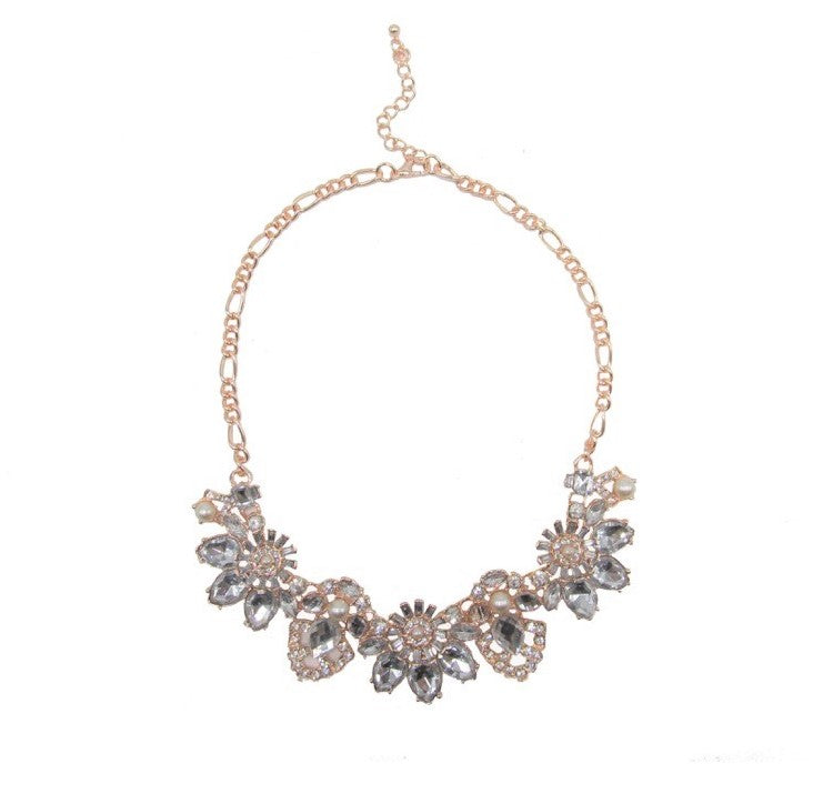 Statement Flower Necklace Rose Gold