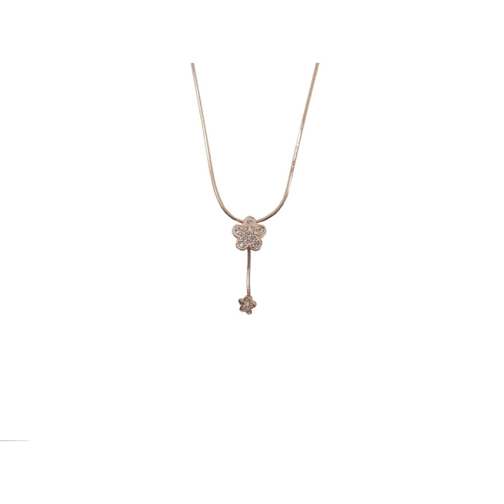 Dainty Flower Drop Necklace Rose Gold