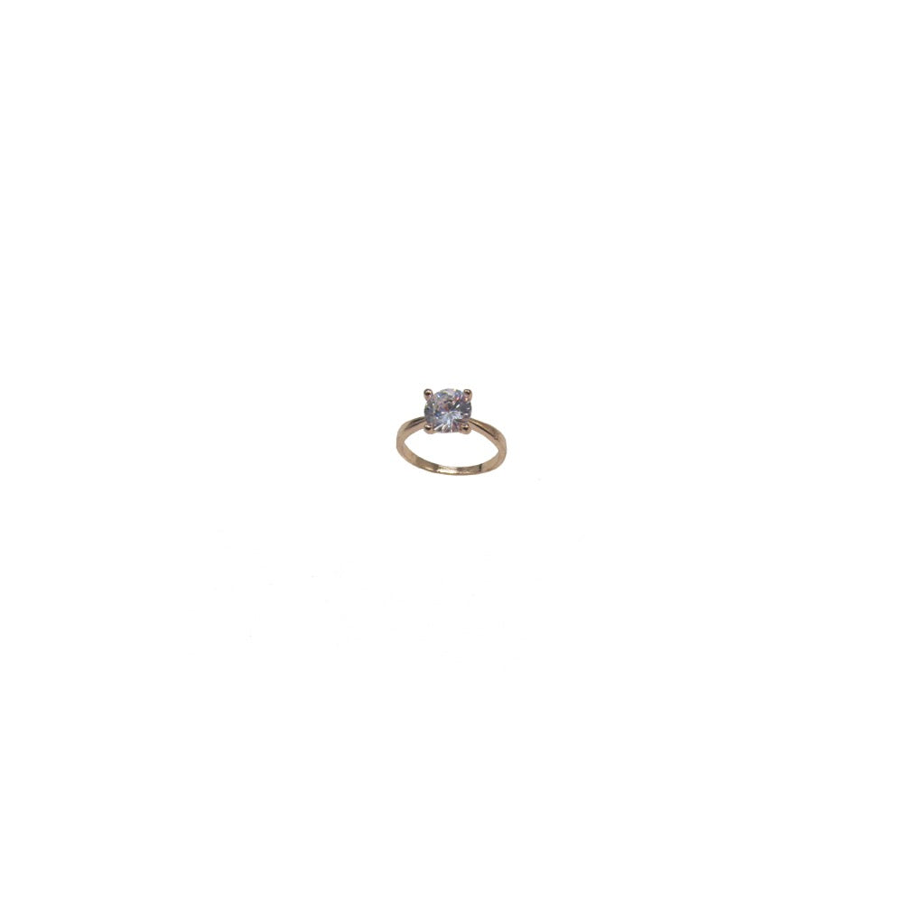 Cubic Zirconia Solitaire Ring Rose Gold