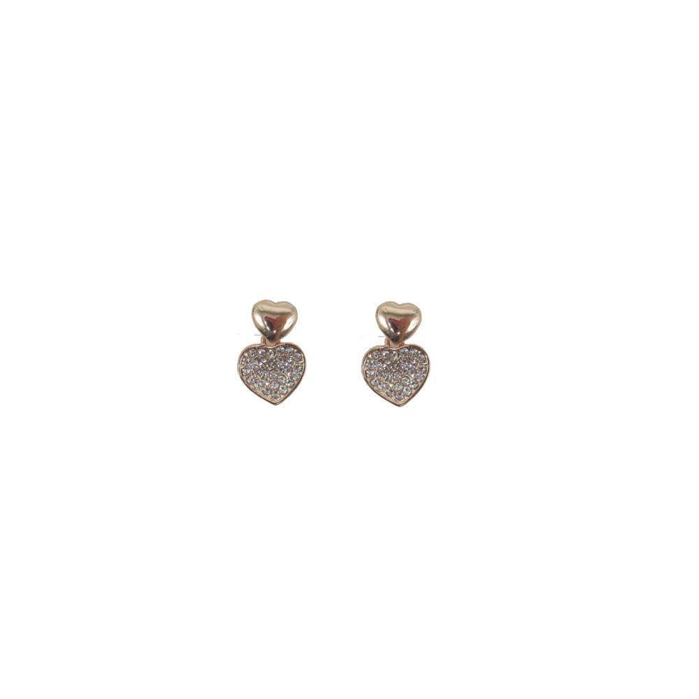 Heart Diamante Earring Rose Gold