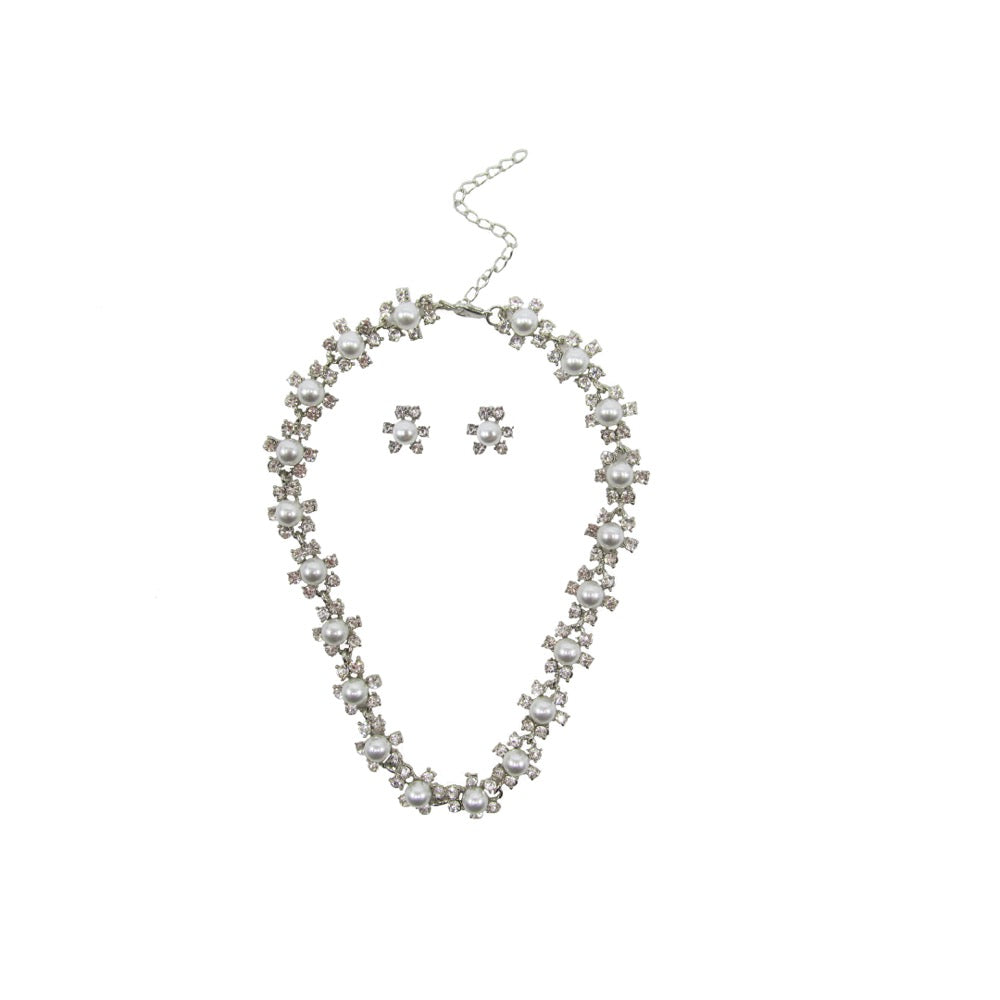 Pearl & Diamante Necklace Set Silver