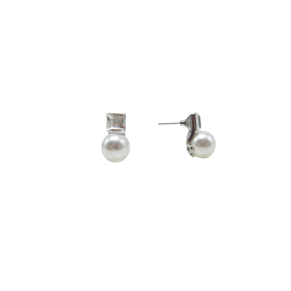 Pearl Crystal Earring Silver